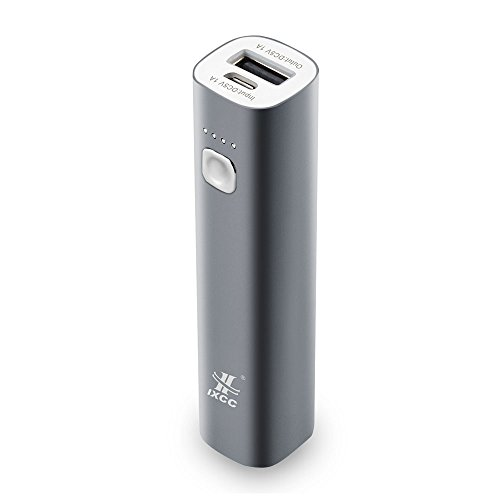 3400mAh Mini Power Bank - iXCC Aluminum Compact Lipstick-Sized Portable Charger External Battery Pack for iPhone, iPad, Samsung Galaxy or More -Gray (Ipad Mini Charger compare prices)
