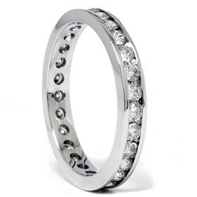 1.00CT Diamond 14K White Gold Channel Set Eternity Wedding Anniversary Stackable Guard Ring Band SZ 5.5 G/H I1