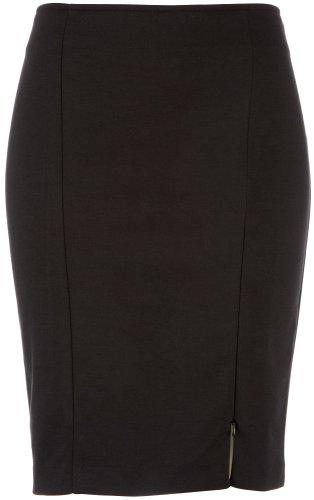Halo Front Zip Slit Pencil Skirt BLACK Large Image