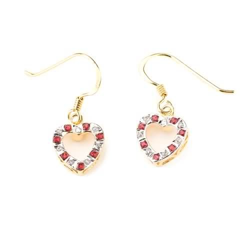 Select Diamonds and Gems 18k Gold over Sterling Silver Diamond & Ruby Accent Heart Drop on wire
