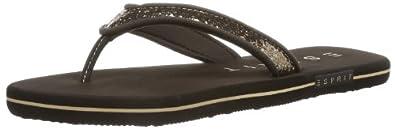 ESPRIT  Glitter Thongs, tongs femme - Marron - Braun (dark mocca 912), 42 EU