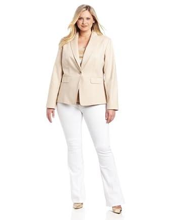 Anne Klein Women's Plus-Size One Button Blazer, Suntan, 22W