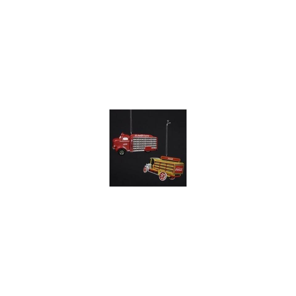 Coca Cola Kurt Adler 2 Delivery Trucks Ornaments