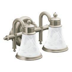 New Moen YBBN Waterhill Two Globe Bath Light Brushed Nickel