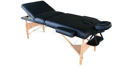 "Exacme Long 4"" Black Three Section PU Portable Massage Table/Bed with Carry Case S34"