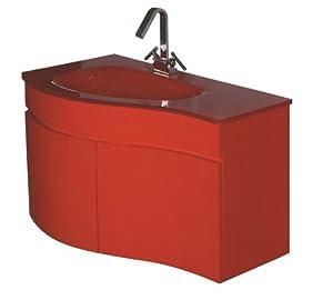 Luxo Marbre Wave 3320 R Wave Vanity With Tempered Glass Sink Red Bathroom Vanities