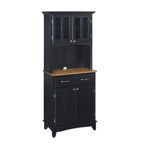 Home Styles Furniture Black Wood Buffet with Cottage Oak Wood Top and 2-Door Panel Hutch