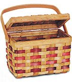 New Quickway Imports QI003047 Chipwood Picnic Rectangle Basket with Burgundy Stripes