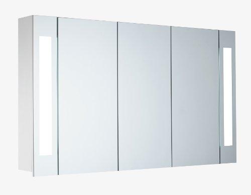 Mebasa-MYBSPKMD16-Spiegelschrank-Corner-3-Tren-verstellbare-Glasbden-T5-Leuchtstofflampe-Softclose-Kippschalter-auen-vormontiert