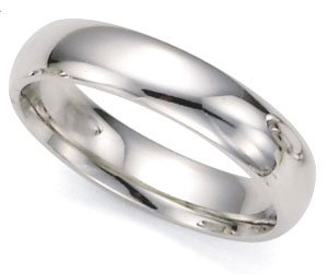 Medium-Weight Plain Dome Wedding Band in 14k White Gold (5mm)