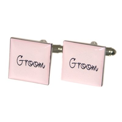 LIGHT/BABY PINK & SILVER Square Cufflinks CHOOSE 18 TITLES inc. GROOM, BEST MAN, FATHER OF THE BRIDE/GROOM, BROTHER OF, USHER, PAGEBOY - great for Wedding or Christening with Gift Box