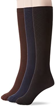 Nine West Women's Textured Diamond And Solid Flat Knit Knee High 3 Pair Sock