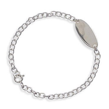 Sterling Silver 5.5 Inch Children's Oval ID Bracelet