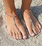 SunSandals Barefoot Sandals Foot Ankle Jewelry Anklets - Disco - Large