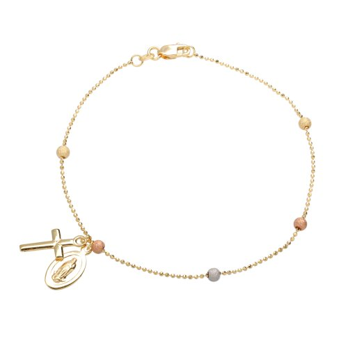 Duragold 14k Tri-Color Beads on Beaded Chain with Cross and Guadalupe Bracelet, 7.5
