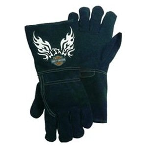 Harley-Davidson Black Leather Welding Gloves Kevlar Stitching