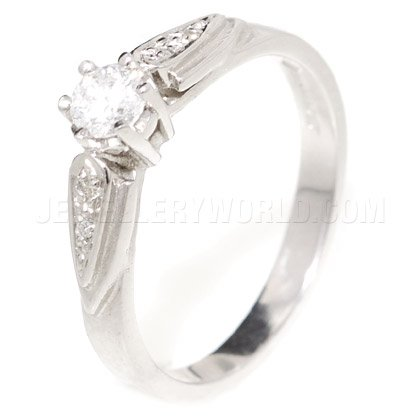 0.25ct Diamond 9ct White Gold Engagement Ring with Raised Shoulders