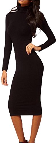 Lovaru Women'S Elegant Full Sleeve Mid-Calf Vintage Pinup Charm Slim Formal Pencil Dress