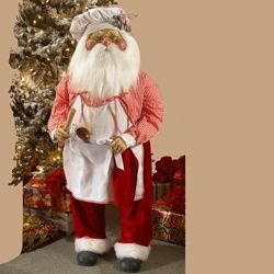 48 Jacqueline Kent's Faces of Christmas Red and Silver Traditional Santa Claus with Gifts Figure