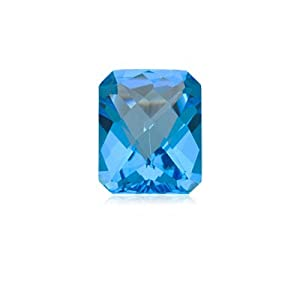 9.00 Cts of 14x10 mm AA Emerald Loose Swiss Blue Topaz ( 1 pc ) Gemstone