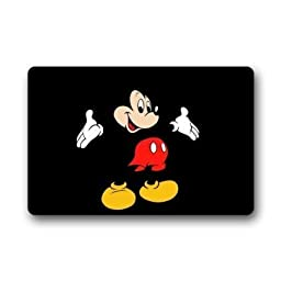 Custom Disney Cartoon Mickey Mouse Machine Washable Top Fabric & Non-slip Rubber Backing Indoor Outdoor Home Office Bathroom Welcome Doormat 23.6\