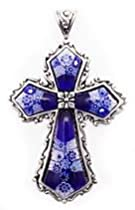 Hot Sale Extra-Large Sterling Silver Vintage-Style BLUE MILLEFIORI Cross Pendant - Murano Glass