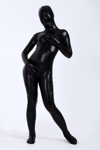 光沢メタリック 全身タイツ 黒色 (M03-6H) 男性Lサイズ