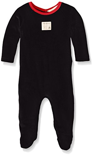Burt's Bees Baby Unisex-Baby Organic Raglan Sleeve Velour Union Suit Coverall, Onyx, 0-3 Months