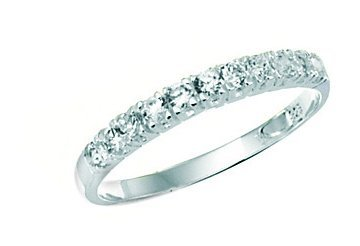 Women's Sterling Silver Cubic Zirconia Half Eternity Ring. Beautifully presented in a pretty box with a bow.