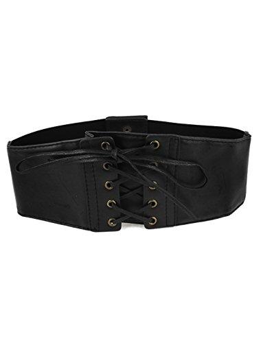Lady Press Button Closure Stretch Corset Waist Laceup Cinch Belt Black
