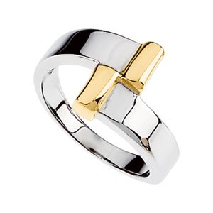14K White/Yellow Gold Bypass Design Band Size: 6