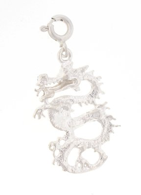 "Sterling Silver 18"" Ball Chain Necklace with Charm Dragon and Clasp"