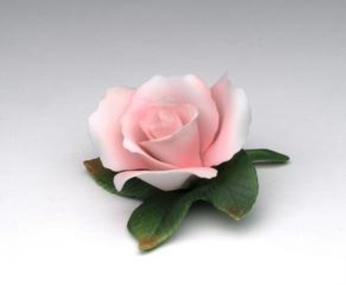 3.63 Inch Pink Rose Collectible Figurine with Green Leaves Statue