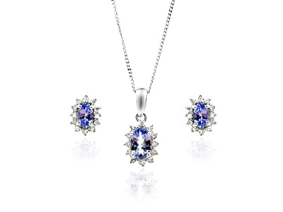 Ivy Gems 9ct White Gold Diamond Earring and Pendant Set Curb chain