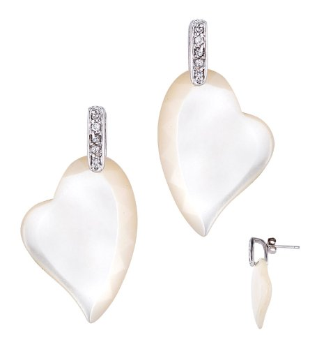 Beautiful White Mother Of Pearl In A Heart Shape On A Little Sterling Silver With Round C.Z. Earrings