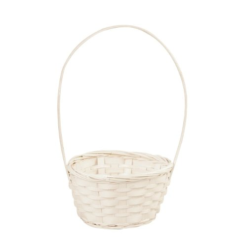 6-Inch White Bamboo Basket with Handle picture