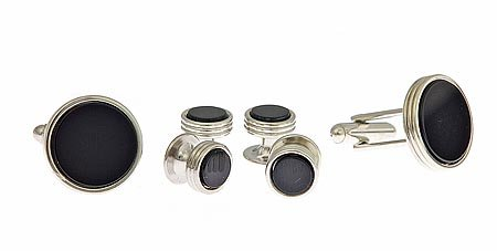 JJ Weston Silver plated and onyx
