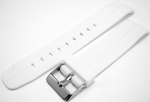 White Curved End Polyurethane Rubber Divers Watch Strap band 20mm