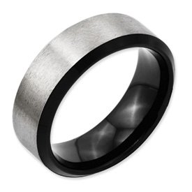 Genuine IceCarats Designer Jewelry Gift Titanium Beveled Edge, Black Plated 8Mm Brushed Band Size 6.00