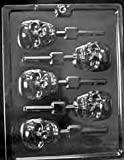 Cybrtrayd H121 Scary Skull Lolly Chocolate Candy Mold with Exclusive Cybrtrayd Copyrighted Chocolate Molding Instructions