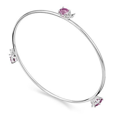 Arm Candy Sterling Silver Butterfly and Pink CZ Bangle