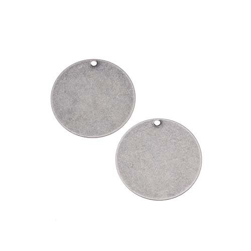 Antiqued Silver Plated Blank Stamping Circle Pendants 19mm (2)