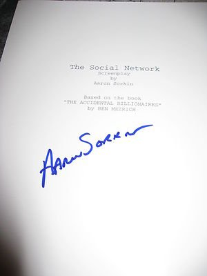 Aaron Sorkin Signed Autograph Movie Script The Social Network 163 Page