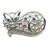 Multi-Color Austrian Rhinestone Silver-Tone Kitty Cat Brooch Pin