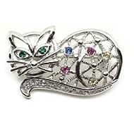 Multi-Color Austrian Rhinestone Silver Tone Kitty Cat Brooch Pin