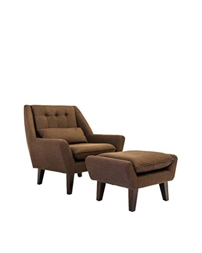 Kardiel Stuart Mid-Century Modern Lounge Chair and Ottoman, Brown