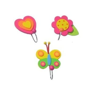 Set of 3 Girl Coat Hooks; Butterfly, Flower, Heart