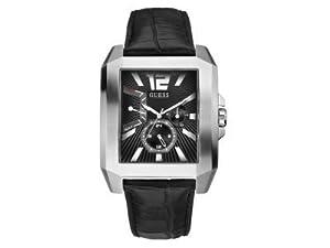 Guess W13075G1 - Reloj analógico de cuarzo para hombre con correa de piel, color negro