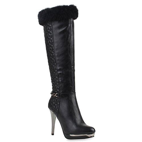 High-Heels-Stiefel: Damen Stiefel High Heels Stilettos Gefüttert Echtfell Ketten