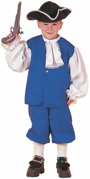Kid's Blue Colonial Boy Costume (Medium 8-10)
